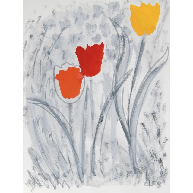 Abstract Floral Tulip Painting by Cleo - Image 1 of 2
