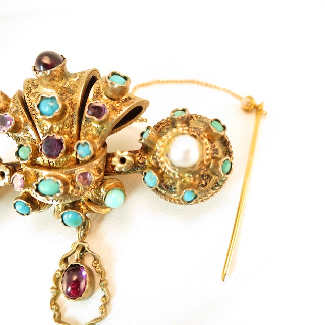 Georgian Baroque Brooch 10k Gold Amethyst Turquoise Pearls Circa 1840 For Sale In Los Angeles - Image 6 of 12