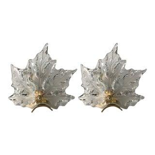 Pair of Lalique Leaf Form Sconces