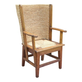 Rare Orkney Island Child's Chair with Woven Reed Back