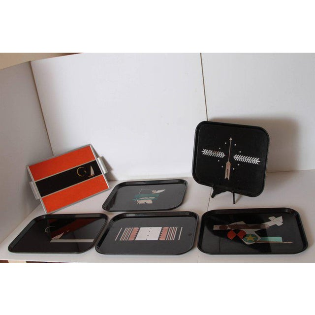 Machine Age Art Deco Micarta Tray Set by George Switzer for Westinghouse For Sale - Image 10 of 11