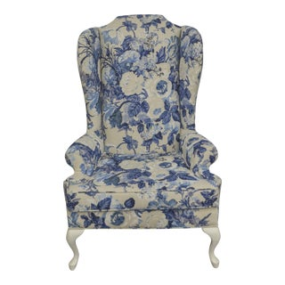 Vintage Duralee Linen Blue & White Floral Wing Chair For Sale