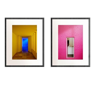 """""""Pink and Yellow Door Diptych"""" Contemporary Limited Edition Original Prints - A Pair For Sale"""