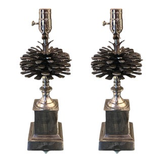 Silvered Bronze Pine Cone Motif Lamps - a Pair For Sale