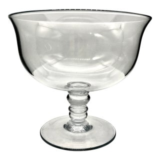 20th Century Simon Pearce Style Blown Crystal Pedestal Bowl For Sale