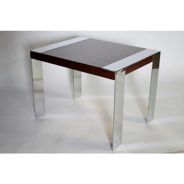Milo Baughman 1970s Milo Baughman Rosewood and Chrome Side Table For Sale - Image 4 of 8