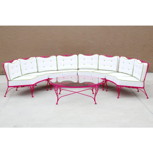 Behold a rare and coveted completely professionally restored Woodard Chantilly Rose 4-piece Sectional. Sandblasted and...