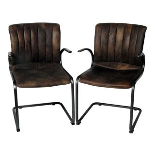 Industrial Style Arm Chairs - A Pair For Sale