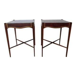 1950s Red Leather Hollywood Regency End Tables - a Pair For Sale