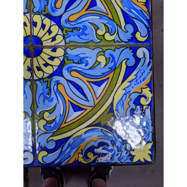 20th Century Spanish Tile and Iron Side Occasional Table For Sale - Image 11 of 12