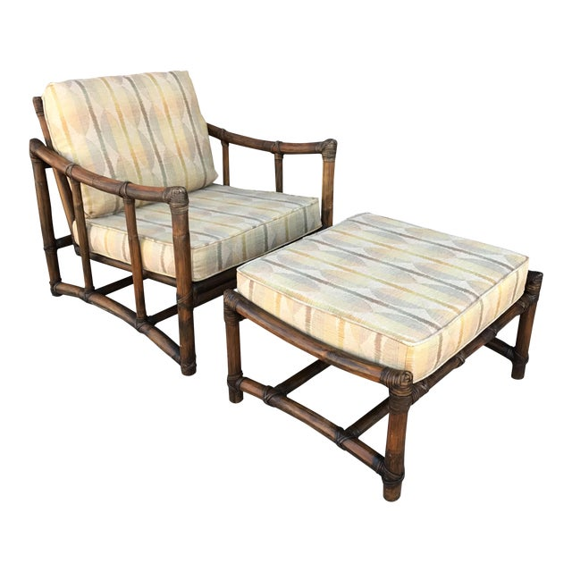 Vintage McGuire Bamboo and Linen Upholstered Lounge Chair & Ottoman - Image 1 of 10