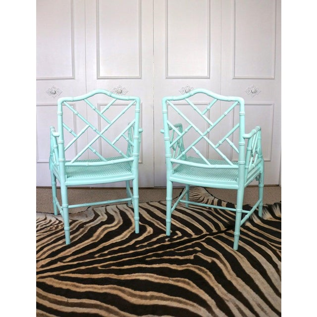 Turquoise Pale Turquoise Faux Bamboo Chinese Chippendale Chairs- A Pair For Sale - Image 8 of 10