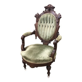 Late 19th Century Jelliff American Renaissance Revival Walnut Arm Chair For Sale