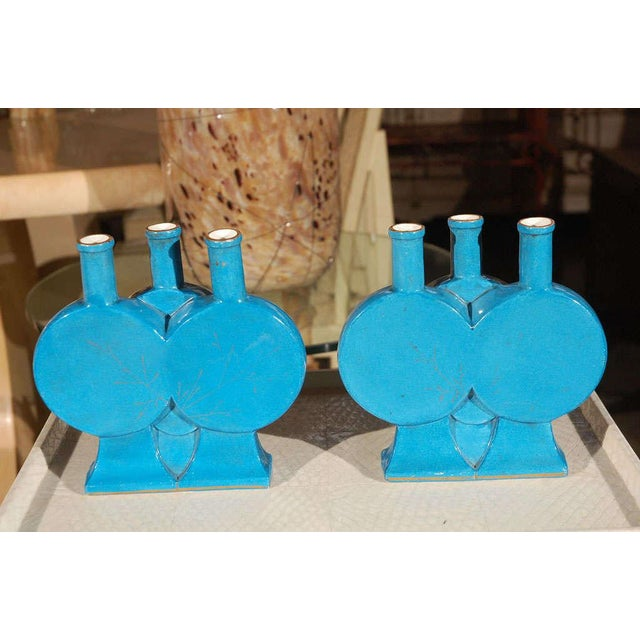 """French Aesthetic """"Triple"""" Blue Pottery Vases - a Pair For Sale In Los Angeles - Image 6 of 8"""