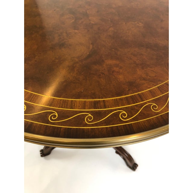 Neoclassical 1990s Neoclassical Theodore Alexander Burl & Zebrawood Round Side Tables - a Pair For Sale - Image 3 of 9
