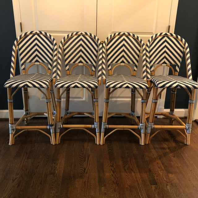 Set of 4 Serena & Lily Chevron Riviera Stools These chairs need no introduction. Classic S & L Riviera counter stool in...