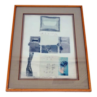 """1970s Abstract Signed Art Print """"Two Reasons Birds Sing"""" by Robert Rauschenberg For Sale"""