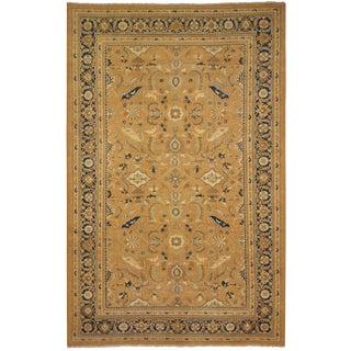 Kafkaz Peshawar Cinderel Taupe/Blue Wool Rug - 10'0 X 15'0 For Sale