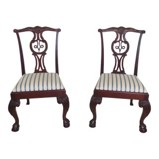 Baker Ball & Claw Chippendale Mahogany Dining Chairs - a Pair For Sale