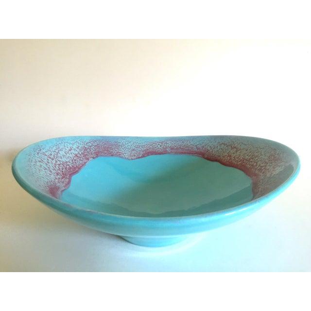 Vintage Mid Century Modern Studio Pottery Aqua Blue Drip Glaze Oval Ellipse Ceramic Pedestal Bowl For Sale - Image 10 of 13