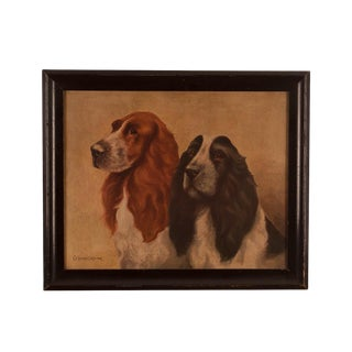 1880s English Pair of Spaniels Painting