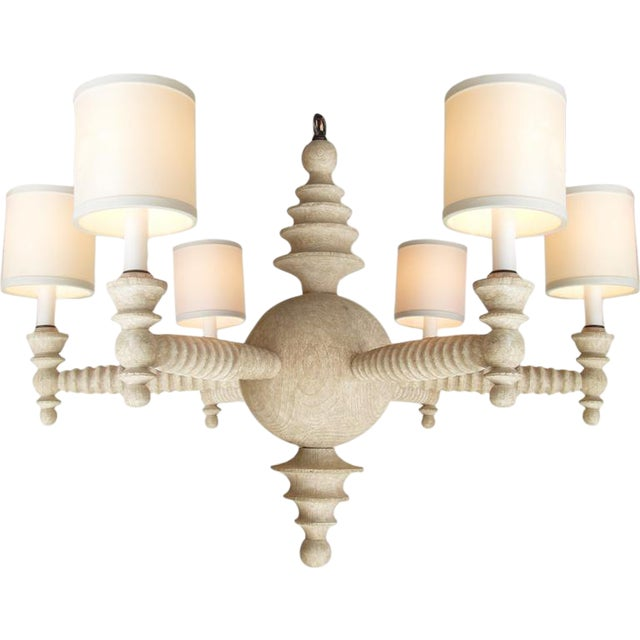 Contemporary Paul Marra Shaded Spool Chandelier in Driftwood For Sale - Image 3 of 9