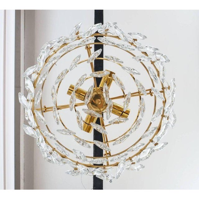 Brass Petite Gilded Brass and Glass Chandelier Lamp by Palwa, 1970 For Sale - Image 7 of 8