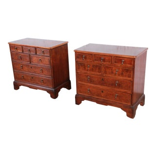 Baker Furniture Milling Road Georgian Burled Walnut Seven-Drawer Dresser Chests, Pair For Sale