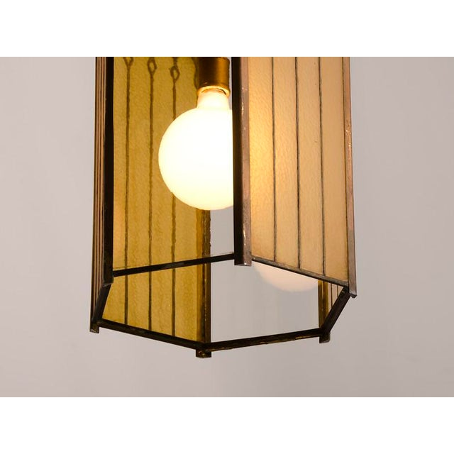 Gold Edwardian English Arts and Crafts Period Tall & Slender Hexagonal Metal Frame & Glass Lantern For Sale - Image 8 of 9