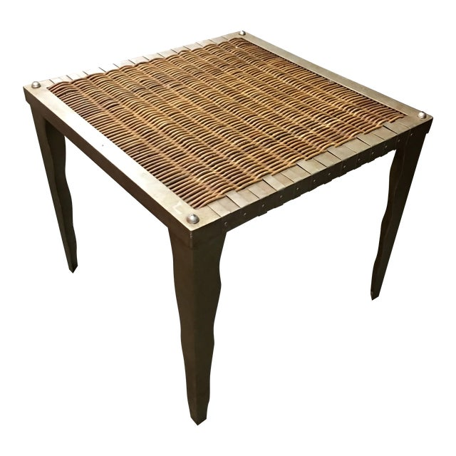 Wicker and Metal Side Table - Image 1 of 7
