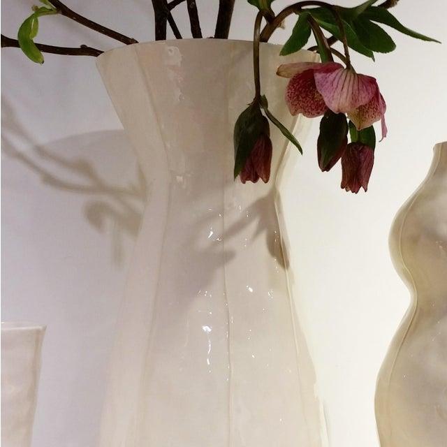 Clay White Ceramic Vase For Sale - Image 7 of 8