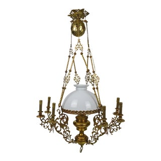 Late 19th Century Antique Bronze Chandelier For Sale