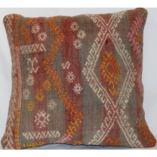 Red and Gray Vintage Handmade Wool Boho Pillow For Sale - Image 5 of 8