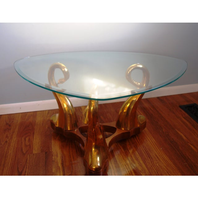 Brass Swan & Glass Coffee Table For Sale - Image 5 of 7