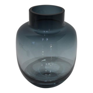 Large Foot High Modern Vase in Steel Blue Smoke Glass by Holmegaard For Sale