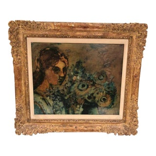 Woman & Flowers Oil Painting For Sale
