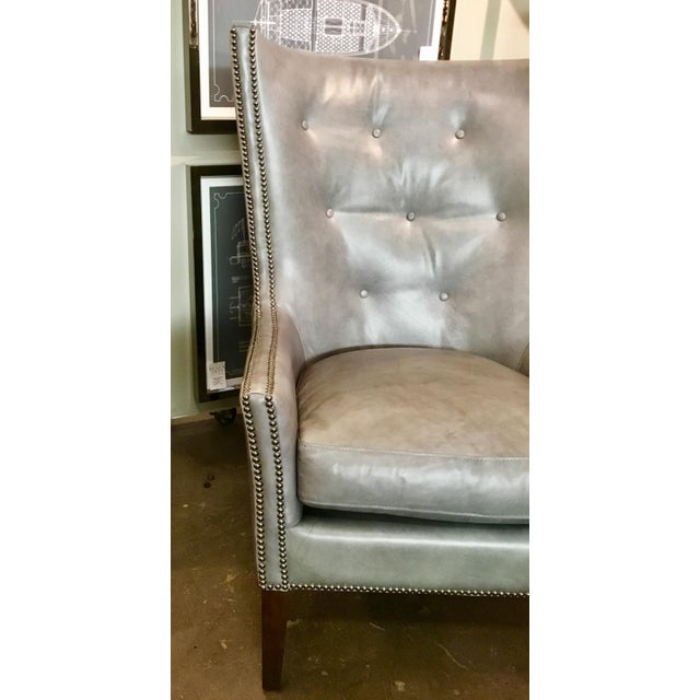 Herndon Aron Wingback Leather Chair - Image 4 of 8