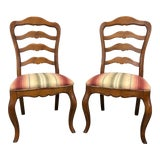 Image of Ethan Allen French Country Style Dining Side Chairs - Pair 1 For Sale
