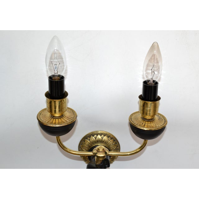 André Arbus Bronze & Black Hand Two-Arm Sconce Wall Light Neoclassical - Pair For Sale - Image 9 of 13
