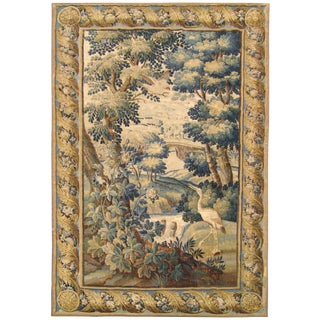 Antique 17th Century Flemish Verdure Tapestry, With Exotic Birds in a Landscape For Sale