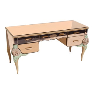1940s Italian Glass Writing Desk For Sale