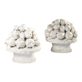 Italian Marble Fruit Baskets - a Pair For Sale