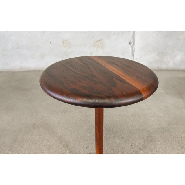 Small Walnut Pedestal Base Side Table - Image 3 of 6
