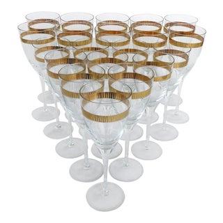 70s Italian Stemware Goblets & Wine Glasses- Set of 20 For Sale