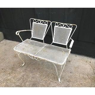 1950s White Iron Patio Bench Preview