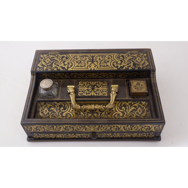 Circa 1880 Italian Napoleon III Inlaid Brass and Lacquered Mahogany Inkwell For Sale In Chicago - Image 6 of 7