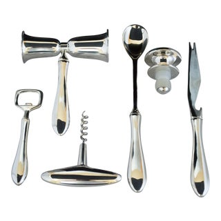 Silver Plated Bar Tools, Boxed - Set of 6 For Sale
