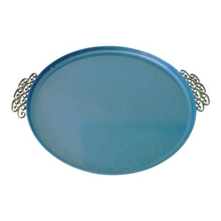 Mid-Century Kyes Moire Sea Blue Tray For Sale