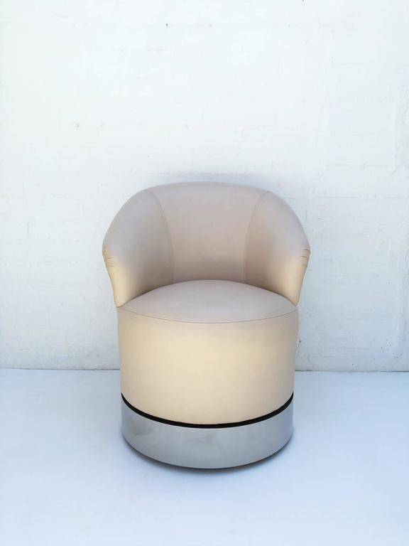Set Of Four Leather And Chrome Barrel Chairs By J. Robert Scott   Image 6