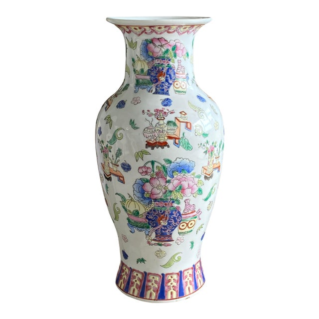 19th Century Chinese Famille Rose Vase With Pink Flowers For Sale